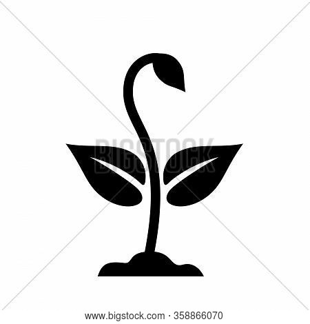 Plant Sprout Flat Icon. Spring Young Sprout With Stem, Leaves And Bud Growing From The Soil, Simple