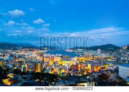 A Night View Made From A Hill In Nagasaki, Japan, With A View Over The Entire Center