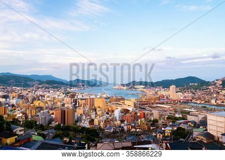 Morning View Made From A Hill In Nagasaki, Japan, With A View Over The Entire Center