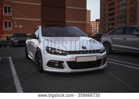 Russia Moscow March 25: White Volkswagen Scirocco Car In The Parking