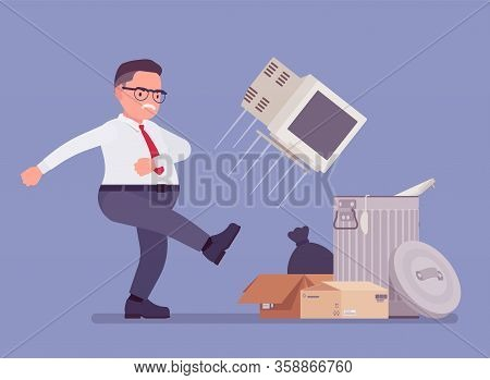 Getting Rid Of Old Personal Computer. Office Angry Man Kicking Throwing Away Monitor Into Trash, Bro