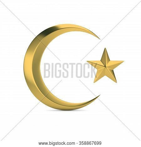 Golden Islamic Symbol. Crescent Moon And Star. 3d Generated Image. White Background.