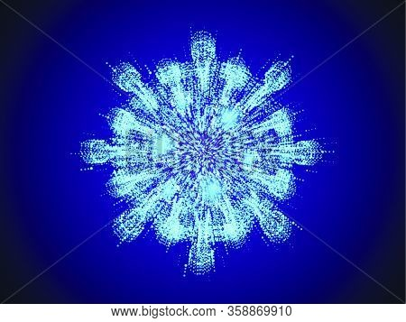 Coronavirus Cell Abstract Design. Made From Many Particles On Blue Background With Motion Blur And N