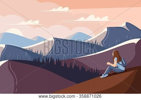 Young Woman Is Sitting On The Grass And Watching The Sunset. Flat Style Summer Landscape. Concept Im