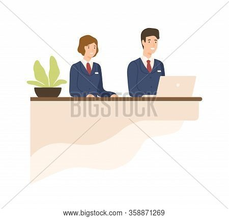 Hospitality Male And Female In Uniform At Counter Vector Flat Illustration. Friendly Cartoon Recepti