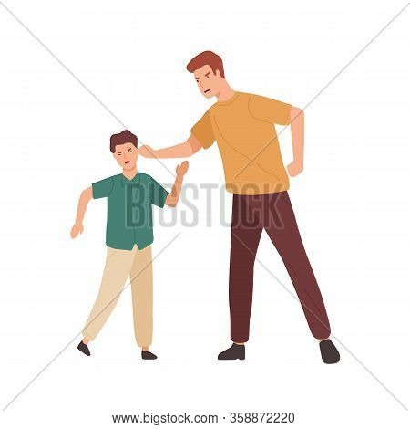 Angry Father Holding Teenage Son By Ear Vector Flat Illustration. Conflict Of Aggressive Cartoon Par