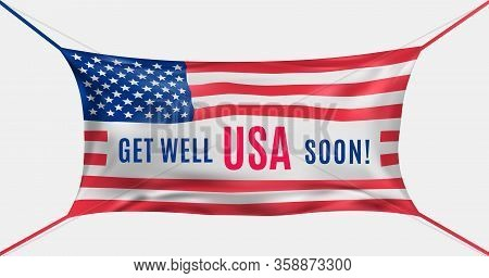 Usa Get Well Soon. Protective Mask In The Form Of Flag Of Us Against Covid-19. Concept Of Batle For