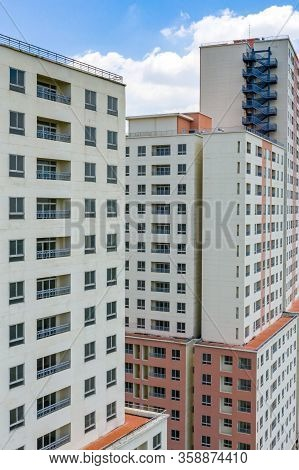 Social Housing Apartment Building Blocks In Modern City