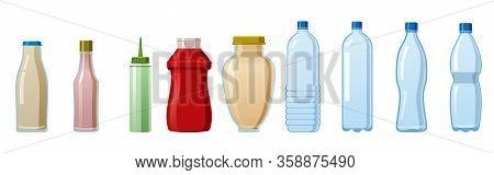 Bottles Sauce And Water Set. Soy Wasabi Mustard Ketchup Mayonnaise Creamy Sauces Water Mineral. Food