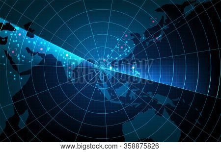 Abstract Background Of Futuristic Technology Scan Target Interface Hud Asia Pacific Maps,hightech Sc