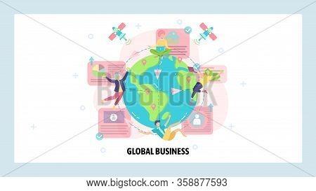 Global Business And Multinational Corporation. International Communication, Business Team, Satellite