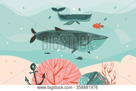 Hand Drawn Vector Abstract Cartoon Summer Time Graphic Illustrations Template Background With Ocean