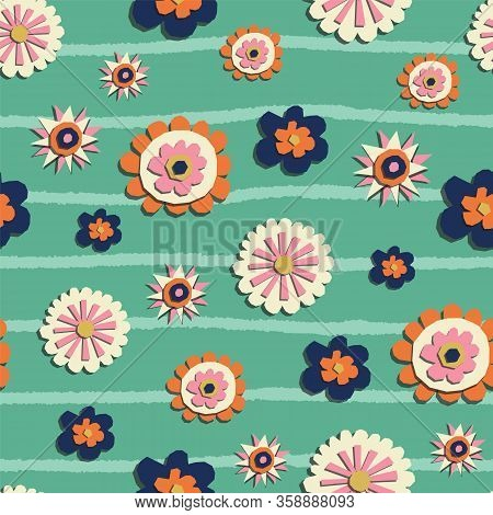 Vector Paper Cut Style Flowers Seamless Pattern