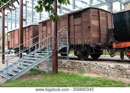 Vilnius, Lithuania - June 14, 2019: Memorial Of Deportations To Siberia Near Naujoji Vilnia Railway