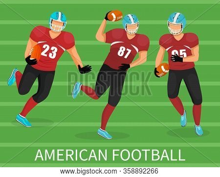 Three Footballers Playing In American Football. Training Or Competition Of Team. People In Uniform A