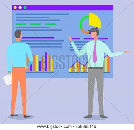 Teamwork Cooperation And Learning Online With Webpage Graph Report. Professional Worker Man Discussi