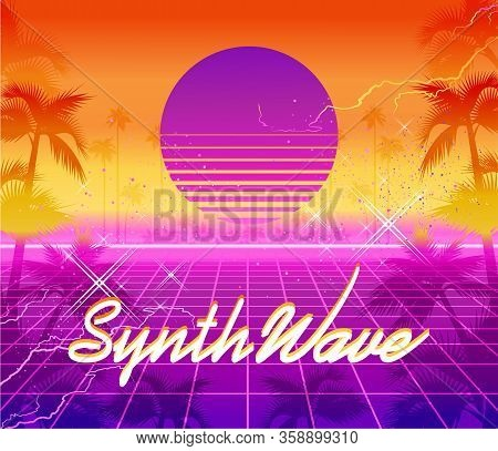 Synthwave Retro Wave, Cyber Landscape With Laser Grid Luminous Rays. Vector Illustration Vaporwave R