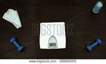 Empty Scales Standing On Floor Of Gym, Weightloss Checking, Slimming Training