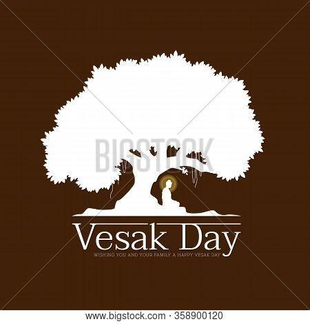 Vesak Day With Nightly Scenery Buddha Meditation Under Bodhi Tree On Brown Background Vector Design