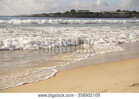 Ocean Surf On The Beach Of Copacabana. Rio De Janeiro, February 2020