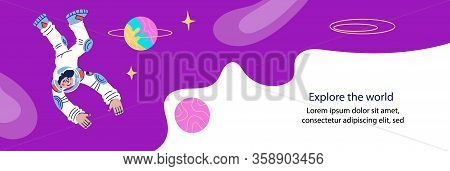 Banner Or Flyer For Cosmonautics Day Template With Astronaut Or Spaceman Character