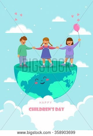 Happy Childrens Day. Children's day. Friendship day. kids are laughing, together happily. Children's day. Boys and girls celebration Childrens day.Design Childrens day greeting cards or posters from the concept of childrens friendship. Cartoon character C