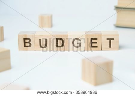 Modern Business Buzzword - Budget. Word On Wooden Blocks On A White Background. Close Up.