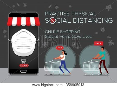 An Illustration Of People Doing Online Shopping, Social Distancing Concept