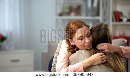 Red-haired Female Hugging Friend, Tender Feelings, Friendship Support, Love