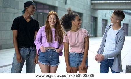 Happy Stylish Teenagers Outdoors, Adolescence Positivity, Cheerful Young People