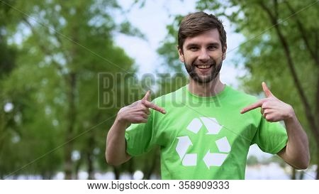 Young Environmental Activist Pointing At Recycling Symbol T-shirt, Segregation