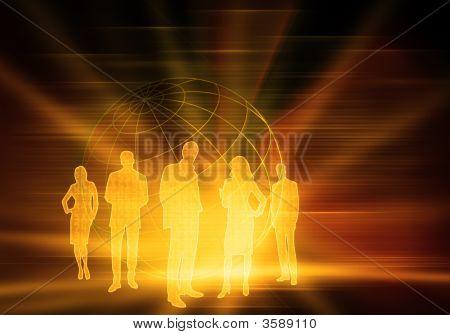 Yellow Binary Code Business People