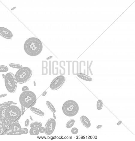 Bitcoin, Internet Currency Coins Falling. Scattered Black And White Btc Floating Coins. Jackpot Or S