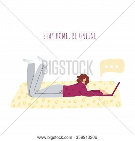 Stay Home Concept - Girl Chatting Skype On Laptop Lying On Floor In Room At Home - Relax And Rest, H