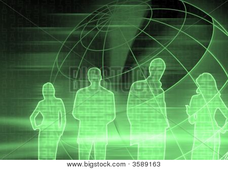 Green Binary Code Business People