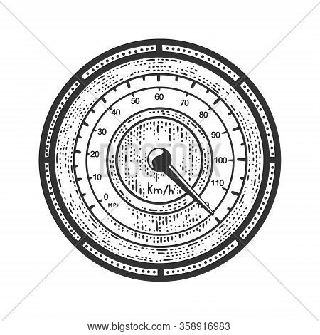 Speedometer Rolls Over Sketch Engraving Vector Illustration. T-shirt Apparel Print Design. Scratch B