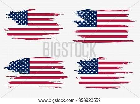 Set American Flags. Brush Painted Flags Of Usa. Hand Drawn Style Illustration With A Grunge Effect A
