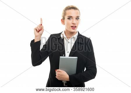 Portrait Of Beautiful Young Female Assistant Manager Having Idea
