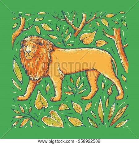 Lion Vector Hand Drawn Illustration. Multicolor Drawing Wild Animal In Leaf Frame Isolated On Green