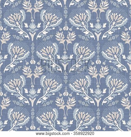 French Blu Shabby Chic Damask Vector Texture Background. Antique White Blue Flower Seamless Pattern.