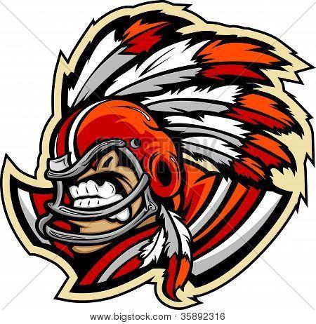 El jefe indio americano fútbol mascota llevaba casco con plumas Vector Illustration
