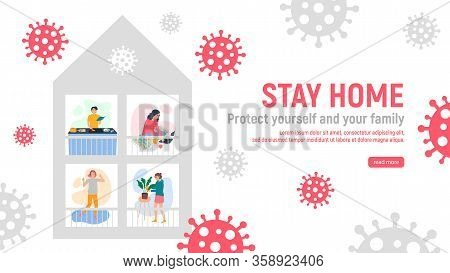 Stay Home Concept. People In Quarantine At Their Home Cooking Food, Dancing To Music, Working On A L