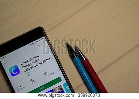 Bekasi, West Java, Indonesia. April 1, 2020 : Canva: Graphic Design Dev Application On Smartphone Sc