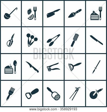Kitchenware Icons Set With Measuring Spoon, Ladle, Sharpening Steel And Other Dessert Spoon Elements
