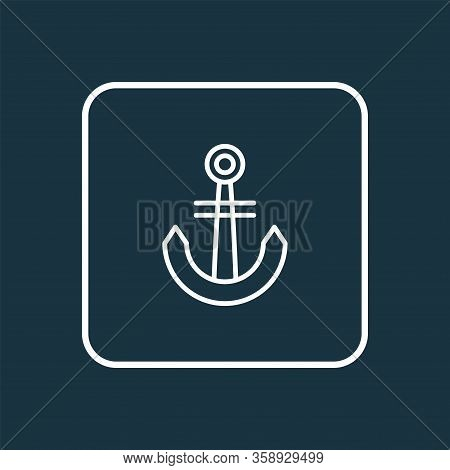 Anchor Icon Line Symbol. Premium Quality Isolated Naval Element In Trendy Style.