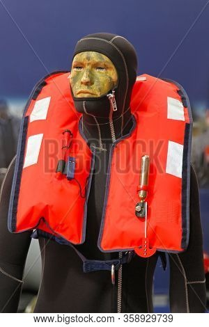 Self Inflating Life Jacket Florescent Red Safety Vest