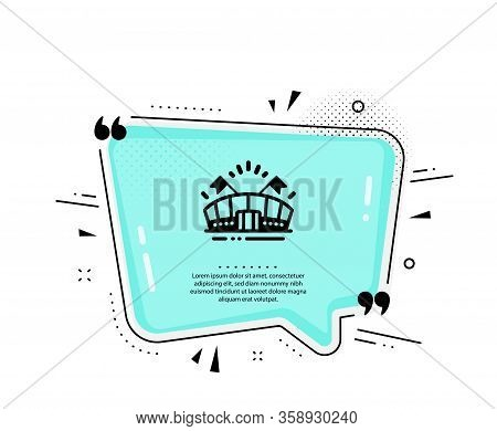 Sports Arena Icon. Quote Speech Bubble. Stadium With Flags Sign. Sport Complex Symbol. Quotation Mar