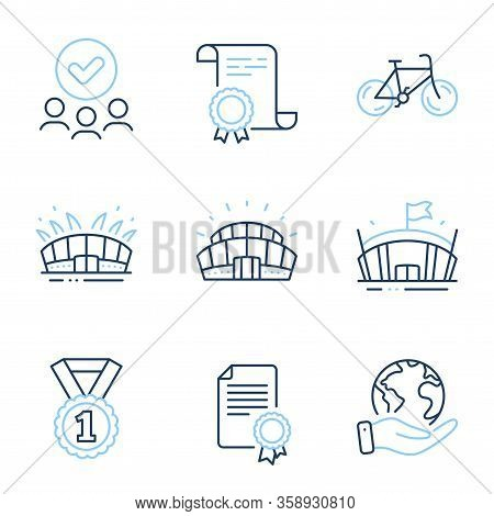 Sports Stadium, Arena Stadium And Bicycle Line Icons Set. Diploma Certificate, Save Planet, Group Of