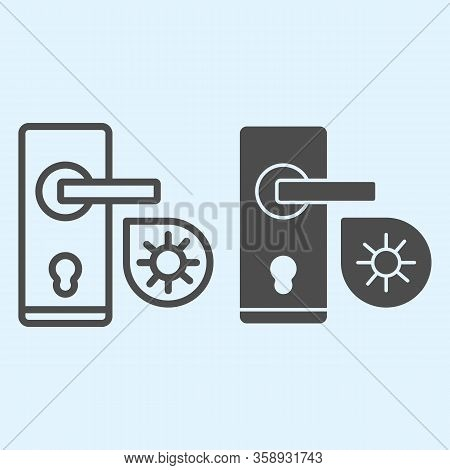 Infected Door Handle Line And Solid Icon. Virus Bacteria On Door Knob Outline Style Pictogram On Whi