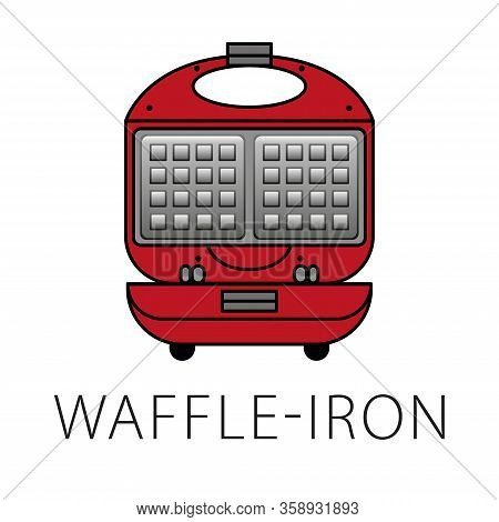 Waffle-iron Icons Set. Outline Set Of Waffle-iron Vector Icons For Web Design Isolated On White Back